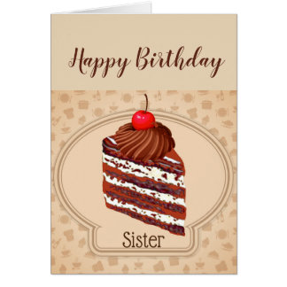 Funny Chocolate Cake Sister Birthday Card
