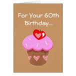 Funny Chocolate Cupcake 60th Birthday Card