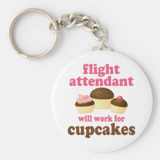 Funny Chocolate Cupcakes Flight Attendant Basic Round Button Keychain