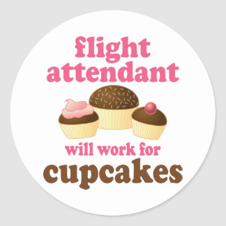 Funny Chocolate Cupcakes Flight Attendant Classic Round Sticker