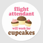 Funny Chocolate Cupcakes Flight Attendant Round Stickers