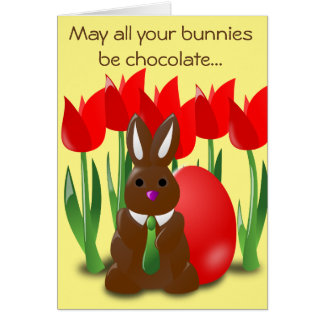 Funny Chocolate Easter Bunny and Flowers Card