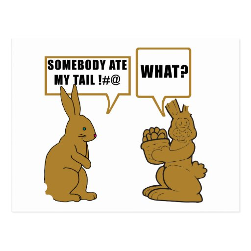 Funny Chocolate Easter Bunny Postcards