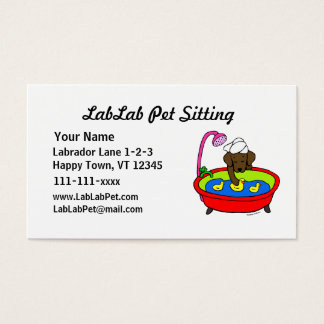 Funny Chocolate Lab Cartoon Pet Sitting Business Card