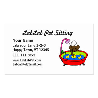 Funny Chocolate Lab Cartoon Pet Sitting Double-Sided Standard Business Cards (Pack Of 100)