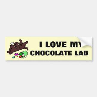 Funny Chocolate Labrador Cartoon Illustration Car Bumper Sticker