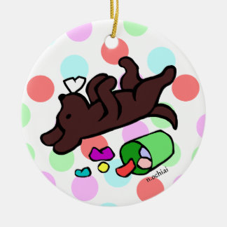 Funny Chocolate Labrador Cartoon Polka Dot Double-Sided Ceramic Round Christmas Ornament