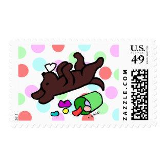 Funny Chocolate Labrador Cartoon Polka Dot Postage