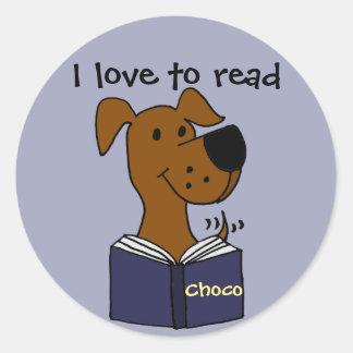 Funny Chocolate Labrador Reading a Book Classic Round Sticker