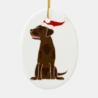Funny Chocolate Labrador Retriever Christmas Art Christmas Ornaments