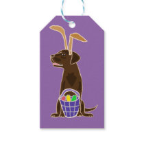 Funny Chocolate Labrador Retriever Easter Art Gift Tags