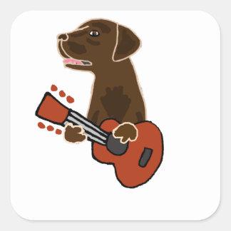 Funny Chocolate Labrador Retriever Guitar Art Square Sticker