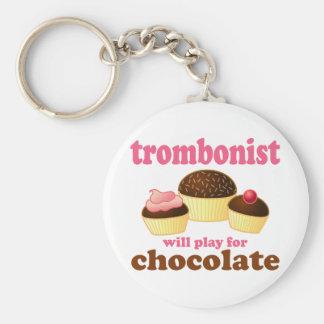 Funny Chocolate Trombonist Gift Keychain