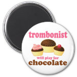 Funny Chocolate Trombonist Gift Refrigerator Magnet
