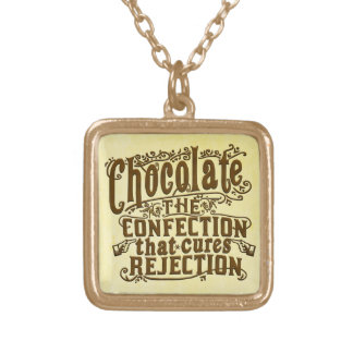 Funny Chocolate Writer Rejection Cure Square Pendant Necklace