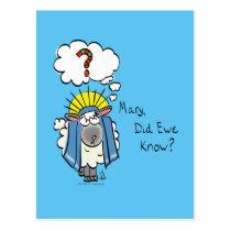 Funny Christian Christmas Cute Sheep Cartoon Postcard