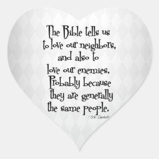 Funny Christian Religious Quote GK Chesterton Heart Sticker
