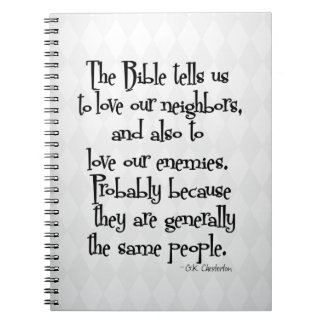 Funny Christian Religious Quote GK Chesterton Notebook