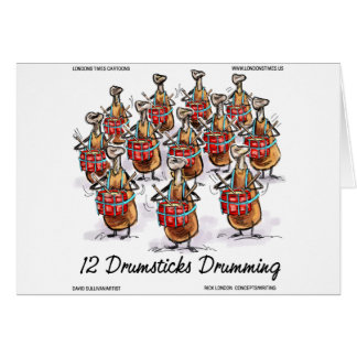 Funny Christmas 12 Drumsticks Drumming Gifts & Tee Greeting Card