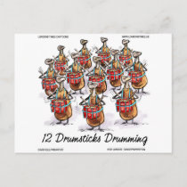 Funny Christmas 12 Drumsticks Drumming Gifts & Tee Holiday Postcard