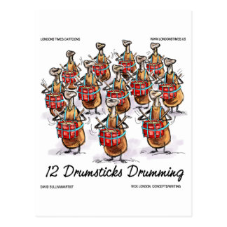 Funny Christmas 12 Drumsticks Drumming Gifts & Tee Postcard