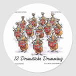 Funny Christmas 12 Drumsticks Drumming Gifts & Tee Classic Round Sticker