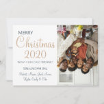 "Funny Christmas 2020 What Could Go Wrong Photo Holiday Card<br><div class=""desc"">Send this modern elegant family photo Christmas card celebrating the year 2020. Gold script highlighting the holiday adds to the seriousness of the seasonal message. But wait, it's 2020 what could go wrong. Your family name and photo are upside down! Humorous yet elegant your family and friends will love it....</div>"