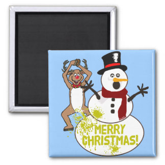Funny Christmas 2 Inch Square Magnet