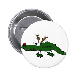 Funny Christmas Alligator as Reindeer 2 Inch Round Button