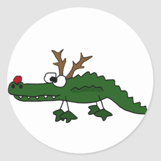 Funny Christmas Alligator as Reindeer Classic Round Sticker