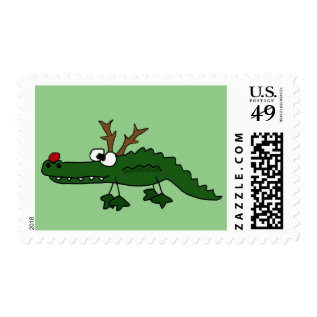 Funny Christmas Alligator as Reindeer Postage at Zazzle