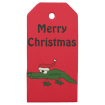 Funny Christmas Alligator in Santa Hat Gift Tags