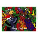 Funny Christmas Animals Abstract Art Original Cards