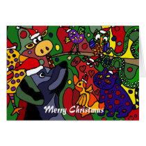 Funny Christmas Animals Abstract Art Original Card