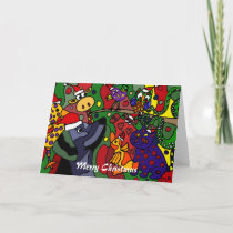 Funny Christmas Animals Abstract Art Original Holiday Card