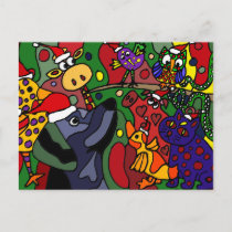 Funny Christmas Animals Abstract Art Original Holiday Postcard
