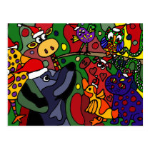 Funny Christmas Animals Abstract Art Original Postcard