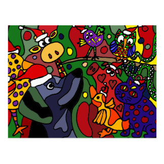 Funny Christmas Animals Abstract Art Original Postcard
