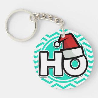 Funny Christmas; Aqua Green Chevron Acrylic Keychain