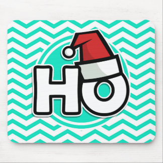 Funny Christmas; Aqua Green Chevron Mouse Pad
