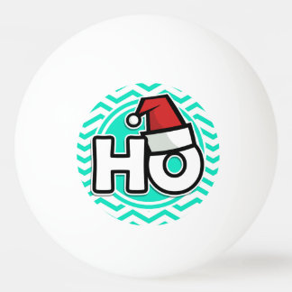 Funny Christmas; Aqua Green Chevron Ping-Pong Ball
