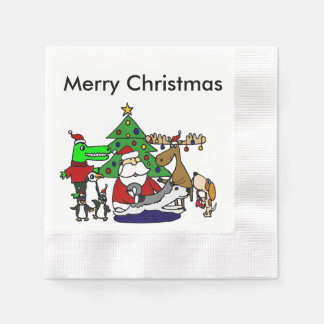 Funny Christmas Art with Santa and Friends Coined Cocktail Napkin