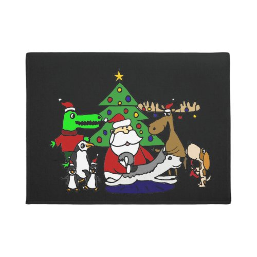 Funny Christmas Art with Santa and Friends Doormat