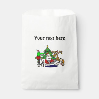 Funny Christmas Art with Santa and Friends Favor Bags