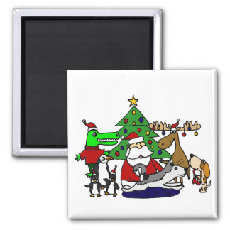 Funny Christmas Art with Santa and Friends Magnet