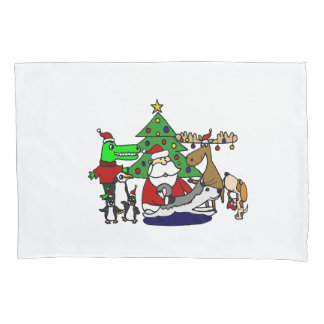 Funny Christmas Art with Santa and Friends Pillowcase