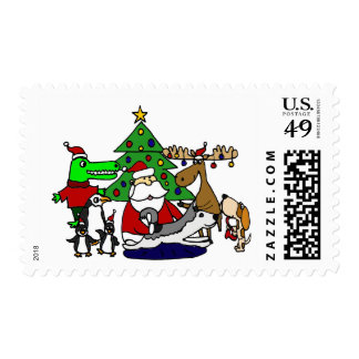 Funny Christmas Art with Santa and Friends Postage