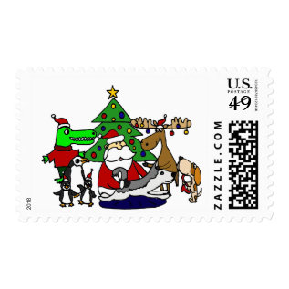 Funny Christmas Art With Santa And Friends Postage at Zazzle