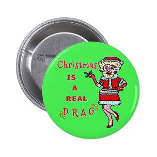 Funny Christmas Bah Humbug Santa in Drag Button