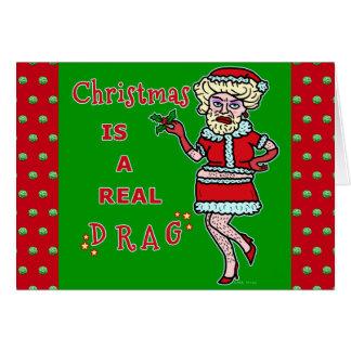 Funny Christmas Bah Humbug Santa in Drag Card